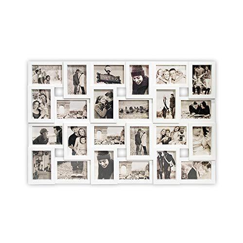 DRULINE Bilderrahmen für 24 Fotos, Fotorahmen, Fotocollage Fotovorhang XXL Bildervorhang RPF20BK Milchig-Photoshop-Optik New Lifestyle Kunststoffrahmen Bildergalerie/Bilderwand | 86 x 57 cm | Weiß