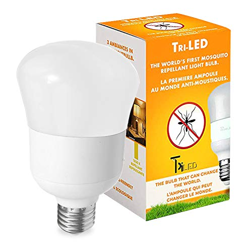 Tri-led Bug Light Bulb - Anti Mosquito-Insect Repellent Bulbs - Outdoor Porch Light - Bug Repellent Light Bulb Outdoor - Yellow Led Bulb - Day Bug Light Bulb - 3 Ambiances in One Light Bulb - 120 V