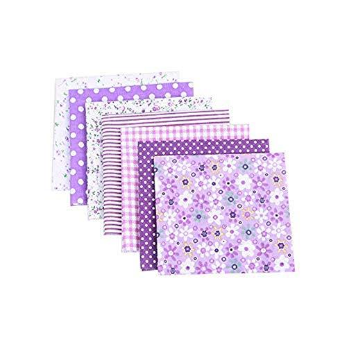 CULASIGN 7 Stück Patchwork Stoffe Blume Baumwollstoff Set Stoffpaket DIY Baumwolltuch Stoffreste Paket Stoffpakete (Lila,50 * 50cm)