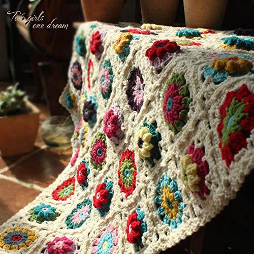 Lili DIY Crochet Baby Blanket CojínColorido estéreo Daisy Mats Mantel Hecho a Mano Moda Bufanda Alfombra para Boda, 120X80CM