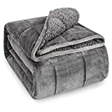 Wemore Sherpa Fleece Weighted Blanket for Adult, 15 lbs Dual Sided Cozy Fluffy Heavy Blanket, Ultra...