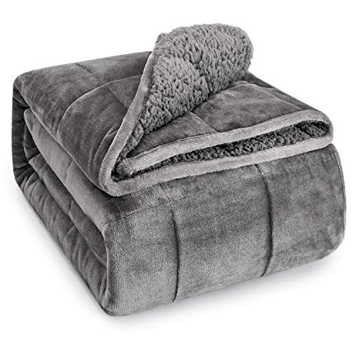 Wemore Sherpa Fleece Weighted Blanket for Adult, 15 lbs Dual Sided Cozy Fluffy Heavy Blanket, Ultra Fuzzy Throw Blanket with Soft Plush Flannel Top, 48 x 72 inches, Grey on Both Sides