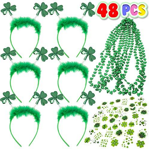Kiddokids 48 Pcs St. Patrick's Day Party Favors Saint Patricks Day Irish Accessories Shamrock.