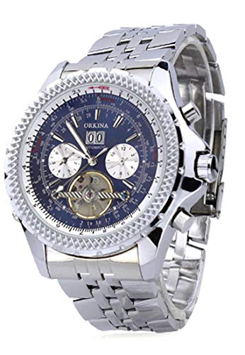 ORKINA Silver Case Stainless Steel Mechanical Self-winding Analog Men Wrist Watch With Calendar