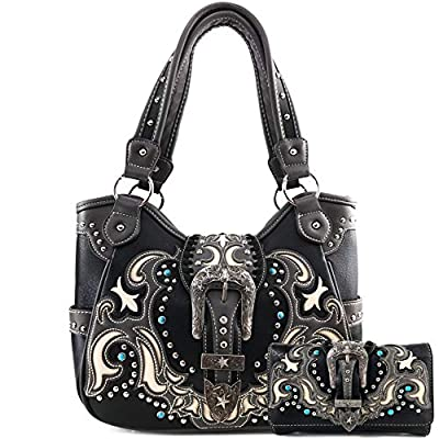 Zelris Western Texas Longhorn Buckle Women Conceal Carry Tote Handbag Purse Set (Black)