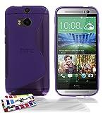 Muzzano F430190 - Funda para HTC One M8, incluye 3 protectores de pantalla, color violeta