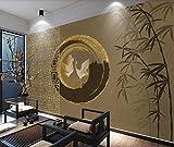 Papel Pintado 3D Mural Estilo Chino Pájaro Abstracto Bambú Clásico Salón Dormitorio Despacho Pasillo Decoración 300x210cm