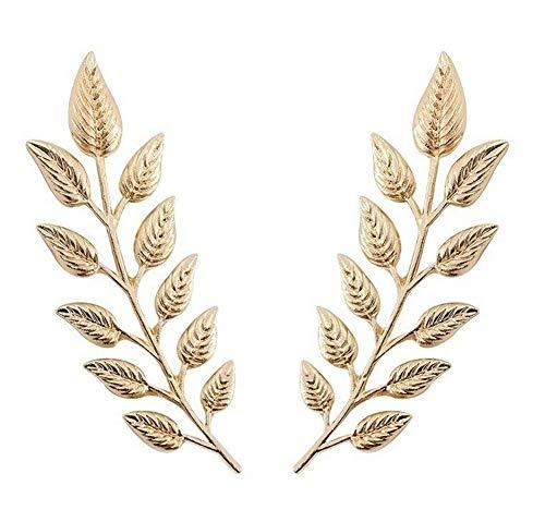 Genérico 2 Broches de cuello hojas de acero dorado, chic.
