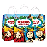 Train Friend Party Bag Gift Bag – Train Friend Party Supplies Favors For Kids Boys Girls – Kraft Paper Bags Take Goodie Candies, Toys, Small Gift Bags with Handle (12 Pack)