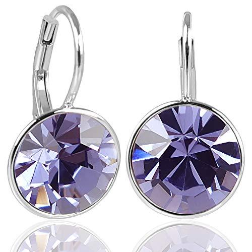 NOBEL SCHMUCK Silber-Ohrringe Lila mit Kristallen von Swarovski® 925 Silver