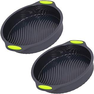 ظرف کیک گرد سیلیکونی ، مجموعه ای از 2 تابه نان برای پخت ، قابلمه های قابل استفاده بزرگ قابل استفاده مجدد ، قالب های کیک پخت سیلیکون ماشین ظرفشویی Safe-9 inch Inside