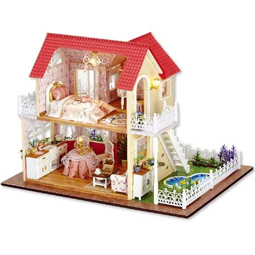 FOLOSAFENAR Casa de artesanía, Kit de casa de muñecas en Miniatura de Bricolaje Mini para decoración para Regalo de cumpleaños