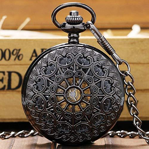 MingXinJia Relojes de Cabecera para el Hogar Reloj de Bolsillo Vintage, Elegantes Relojes de Bolsillo Mecánicos Negros de Acero Hueco, Hombres, Mujeres, Reloj de Cuerda Manual, Reloj Colgante con Bol