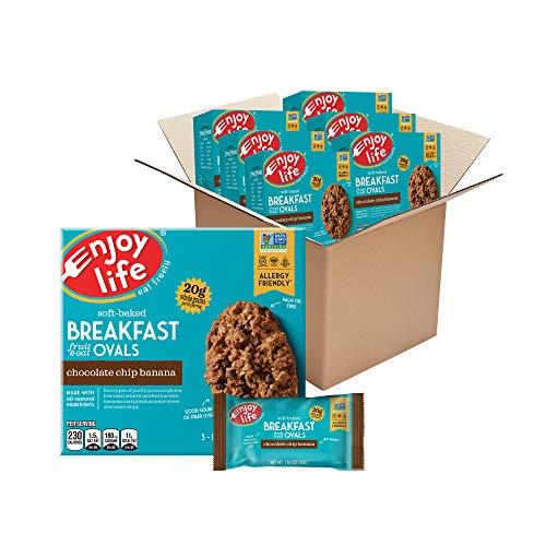 Enjoy Life Soft Baked Chocolate Chip Banana Ovals Breakfast Bars, Nut Free Bars, Soy Free, Dairy Free, Non GMO, Gluten Free Vegan Breakfast Bars, 6 Boxes