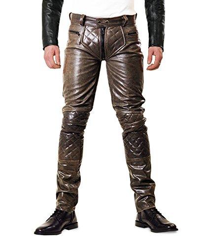 Bockle® 5G-Zip derb braune Lederjeans Lederhose mit durchgehendem Reißverschluss, Size: W33/L34