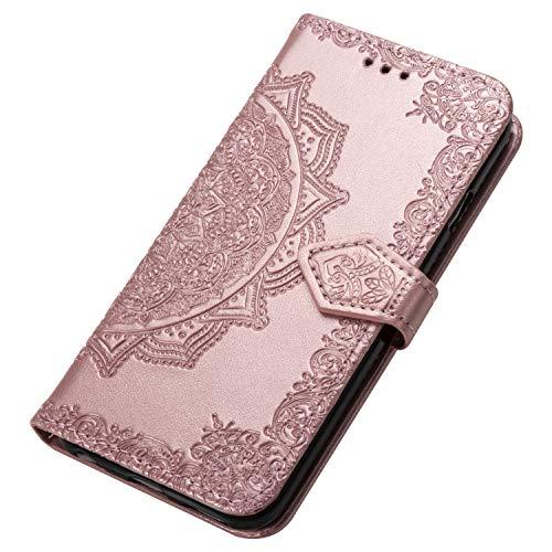HAOYE Hülle für Motorola Moto G8 Power Lite Hülle, Mandala Geprägtem PU Leder Magnetische Filp Handyhülle mit Kartensteckplätzen/Standfunktion, [Anti-Rutsch Abriebfest] Schutzhülle. Rose Gold