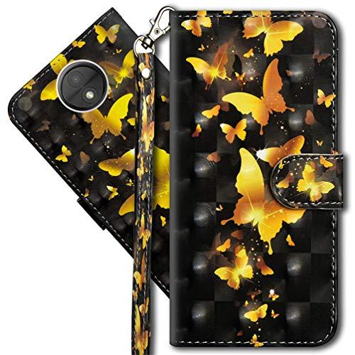 MRSTER Moto C Plus Handytasche, Leder Schutzhülle Brieftasche Hülle Flip Hülle 3D Muster Cover mit Kartenfach Magnet Tasche Handyhüllen für Motorola Moto C Plus. YX 3D - Golden Butterfly