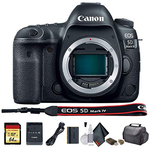 Canon EOS 5D Mark IV DSLR Camera (International Model) (1483C002) with 64GB Memory Card, Case, Cleaning Set and More - Starter Bundle