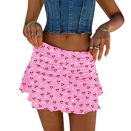 CHOSERL Faldas plisadas Y2K de moda para mujer, falda de cintura elástica con volantes fruncidos, Rosa1, 36