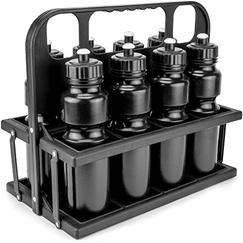 Crown Sporting Goods Collapsible Sports Drink Carrier with 8 Plastic 36 OZ Screw-top Squeeze Bottles