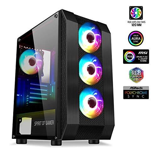 Spirit Of Gamer - Rogue Vi - PC Gamer ATX/Matx/ITX Caja - Panel Frontal Y Pared De Vidrio Templado - 4 LED RGB Direccionables Ventiladores De 120mm - Aura/MSI Mystic/ASROCK 3Pin