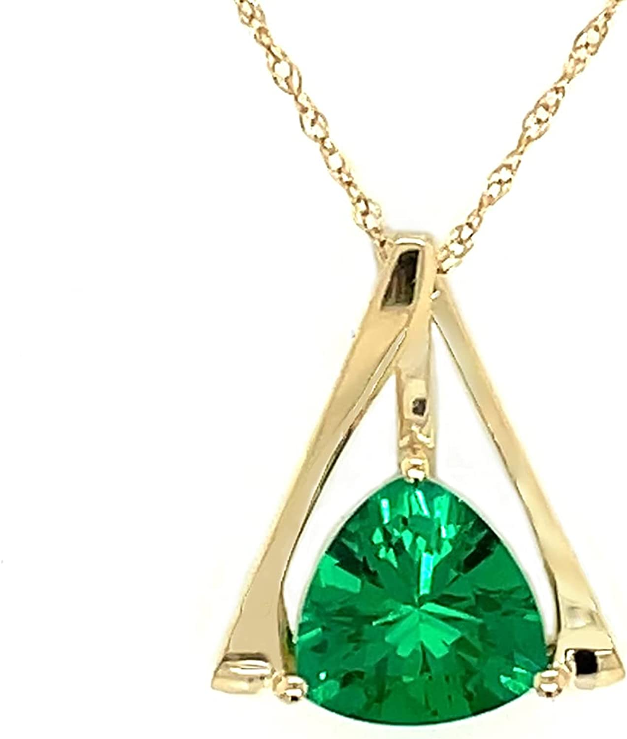 Royal Jewelz 8 MM Trillion-shape Simulated Emerald Pendant Necklace in 10k Yellow Gold. Comes with 10k Gold Chain.