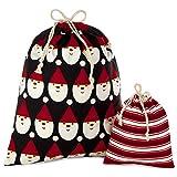 Hallmark Black and Red Drawstring Christmas Gift Bag Set (2 Fabric Bags with Drawstrings; 1 Medium...