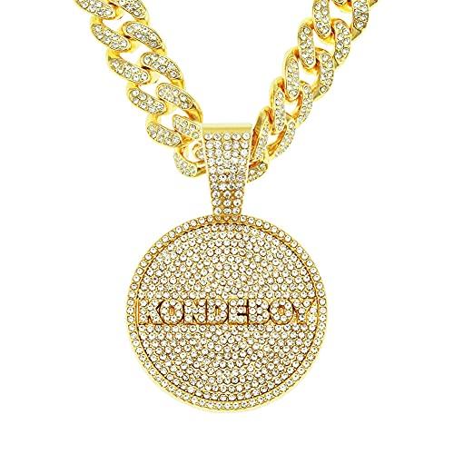 RXSHOUSH Collar de Discos Letra Kondeboy Colgante Zircon 20 Pulgadas Oro/Plata Cadena Cubana Hombres y Mujeres Pareja Collar de joyería Colgante