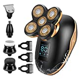 Electric Shavers for Men, 5 in 1 Electric Razor for Men Bald Head Shaver, LED Waterproof Rechargeable Mens Face Head Grooming Kit for Wet Dry Shaving with Clippers, Nose Hair Trimmer, Cleaning Brush