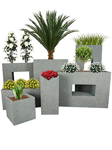 Pflanzwerk® Maceta Cube Granito Gris 23x23x23cm *Resistente a Las heladas* *Protección UV* *Calidad Europeo*