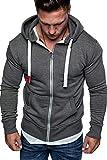 NTNY3 Felpa Uomo con Zip con Cappuccio Giacca Ragazzo Casual Slim Fit Giacche Eleganti Felpe Uomini con Cerniera Sportiva Hooded Sweatshirt Leggera Sportivo Outwear Inverno Autunno (Grigio, 2XL)