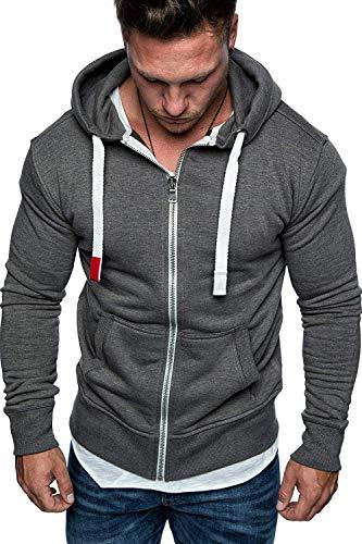 NTNY3 Felpa Uomo con Zip con Cappuccio Giacca Ragazzo Casual Slim Fit Giacche Eleganti Felpe Uomini con Cerniera Sportiva Hooded Sweatshirt Leggera Sportivo Outwear Inverno Autunno (Grigio, 3XL)