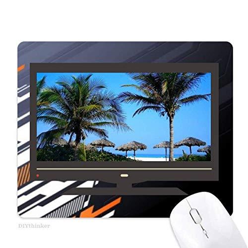 photo du ciel bleu océan palmier tapis de souris informatique bureau de caoutchouc antidérapant.