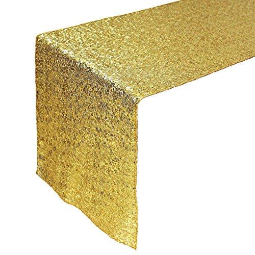 Tankerstreet 33X 274,3Cm Beautiful Sparkle Tessuto Paillettes Runner Tovaglia Per Festa Di Nozze Decorazioni–Oro