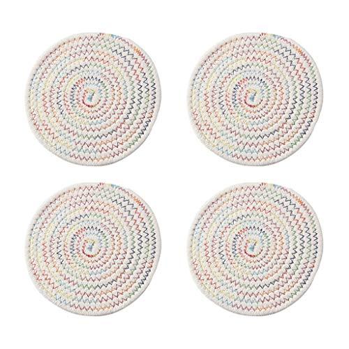 Posavasos Conjunto agarradores 100% puro hilo de algodón de la armadura (juego de 4) posavasos elegante, Mantel, caliente Mats, proteger los muebles (Ronda, de 8 mm de espesor) Posavasos reutilizable