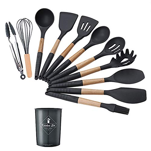 9-12PCS Utensilios de Cocina de Silicona Resistencia a Alta Temperatura Utensilios de Cocina Conjunto con Caja de Almacenamiento Pinzas Espátula Utensilios de Cocina Negro (Color : Black 12 Pcs Set)