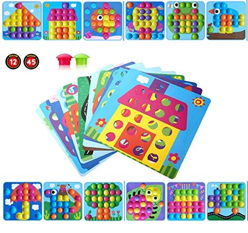 aerialjump Mosaik Steckspiel für Kinder ab 2 Jahre,Lernspielzeug Geschenke ,Pädagogische Baustein Sets, Steckspielzeug Kinderspielzeug,Bunte Steckspiel,Spielzeug mädchen 2 3+ Jahre
