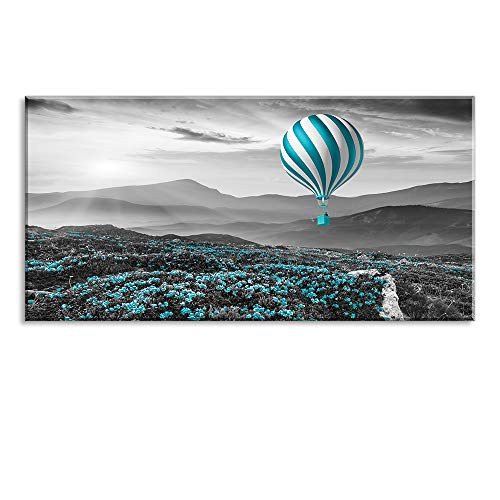 Home Wall Art Décor of The Balloon is Flying in The Sun,Flowers All Over The Mountains Canvas Prints with Black Background, Romantic Home Paintings