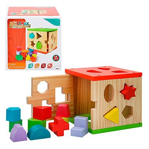 WOOMAX- Cubo actividades de madera 14 piezas (Color Baby 42139)
