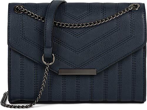 styleBREAKER Damen Umhängetasche mit Ziernähten und Kette, Schultertasche, Handtasche, Tasche 02012308, Farbe:Dunkelblau