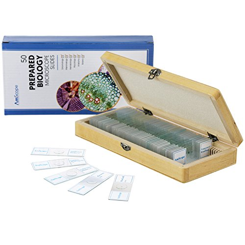 AmScope PS50A Prepared Microscope Slide Set for Basic Biological Science Education, 50 Biology and Pathology Slides, Includes Fitted Wooden Case