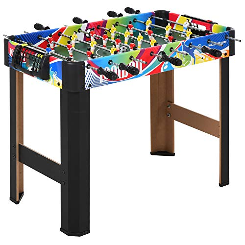 HOMCOM 2.8FT Football Foosball Gaming Table Soccer For Kids Indoor Play Fun Sports Game
