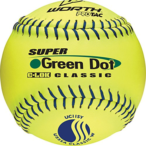 Worth 11-Inch USSSA Stamped Slowpitch UC11SY Optic Yellow Protac Cover Ball (Pack of 12)