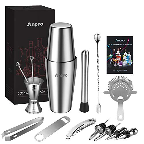 Anpro 15 pieces of stainless steel cocktail mix set, Boston style mix set, including shaker, measuring cup, filter, stirring spoon, ice tongs, bottle opener, etc, very suitable for beginners or bar
