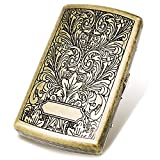 Cigarette Case Mini Tobacco Box Metal Retro 85mm 3.74 Inch King Size 12 Capacity Sturdy Double Sided Spring Clip Open Pocket Holder Vintage Golden