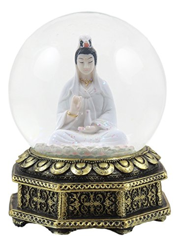 Ebros Eastern Enlightenment Buddha Meditating Goddess Kuan Yin Water Globe Collectible Figurine 6' Tall Deity of Mercy and Compassion Guanyin in White Robe