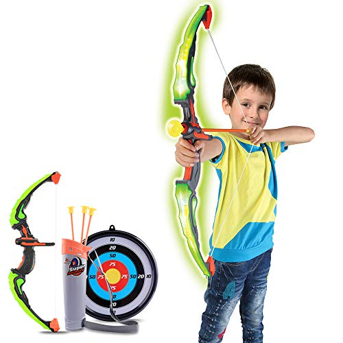 Mecotecn Bow and Arrow Set for Kids Archery Set with LED Light 3 Arrows 1 Bow 1 Quiver and 1 Target For Boys Girls Ages 6 12 Years Old