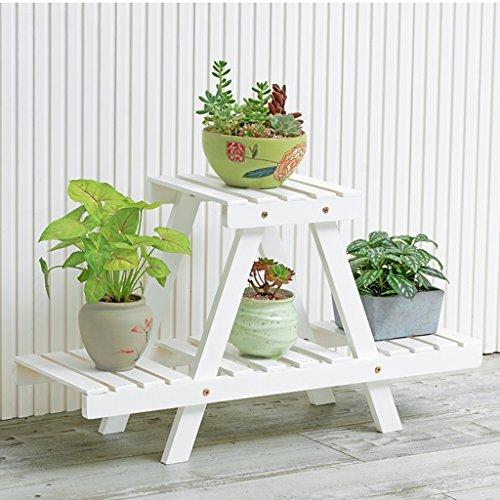 Supports à fleurs en bois massif supports à fleurs à plusieurs étages au sol supports de pots à fleurs balcon étagères à fleurs pour le stockage intérieur de salle de séjour présentoir à fleurs pour plantes cadre décoratif de jardin ( Color : Blanc )