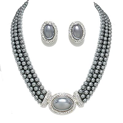 Women's 3 Rows Rhinestone Trimmed Simulated Pearl Statement Necklace, Clip on Earrings Set