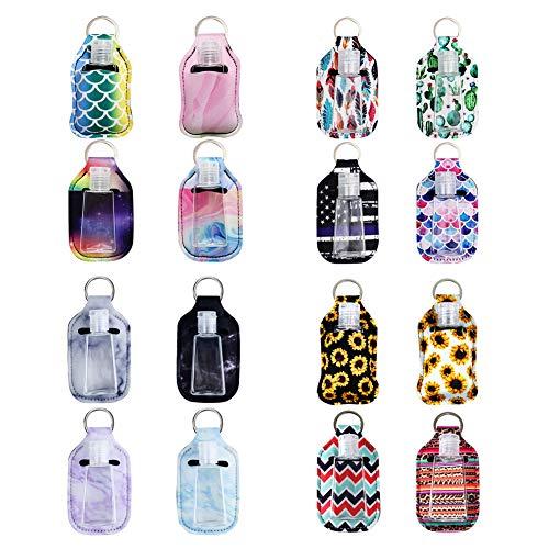 16 juegos de llaveros para botellas, incluye llavero de neopreno y botella de viaje vacía transparente de 30 ml, recipientes recargables portátiles para viajes escolares y actividades al aire libre